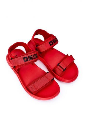 Sportovní pánské sandály Big Star červené barvy se suchým zipem