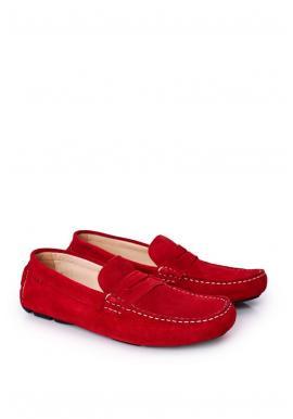 Pánské semišové mokasíny značky GOE v červené barvě