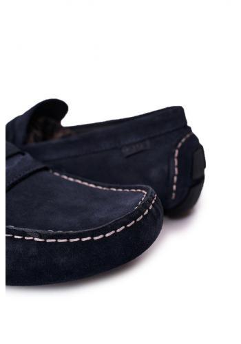 Tmavě modré semišové mokasíny značky GOE pro pány