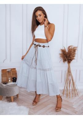 Maxi dámské sukně světle šedé barvy s krajkovým detailem