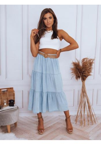 Světle modrá maxi sukně s volánem pro dámy