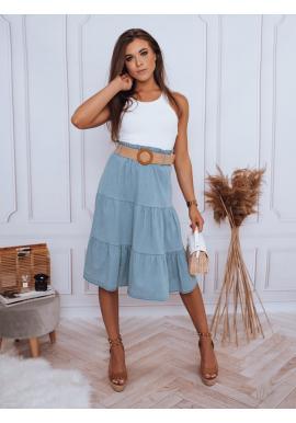 Midi dámská sukně světle modré barvy s pleteným páskem