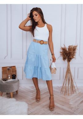 Světle modrá midi sukně s pleteným páskem pro dámy