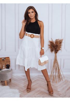 Dámská midi sukně s pleteným páskem v bílé barvě