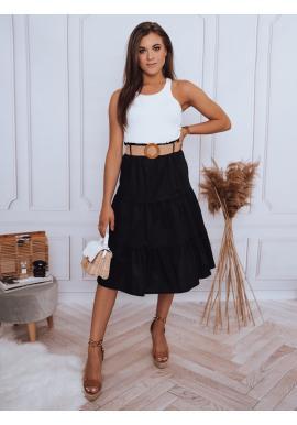 Midi dámská sukně černé barvy s pleteným páskem