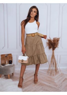 Kávová midi sukně s pleteným páskem pro dámy