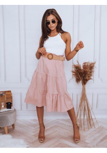 Dámské midi sukně s pleteným páskem v růžové barvě