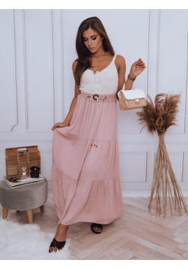Růžová maxi sukně s gumičkou v pase pro dámy