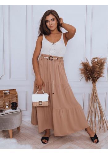 Dámská maxi sukně s gumičkou v pase v hnědé barvě
