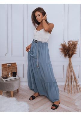 Maxi dámská sukně světle modré barvy s gumičkou v pase