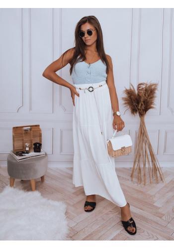 Bílá maxi sukně s gumičkou v pase pro dámy