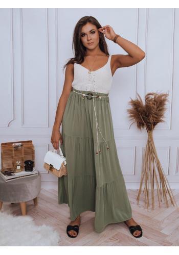 Dámské maxi sukně s gumičkou v pase v zelené barvě