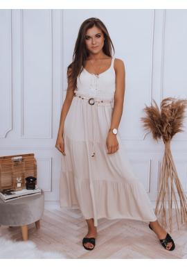 Maxi dámská sukně béžové barvy s gumičkou v pase