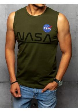 Khaki módní tričko s potiskem NASA pro pány