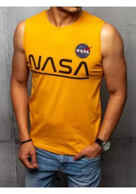 Módní pánské tričko hořčicové barvy s potiskem NASA