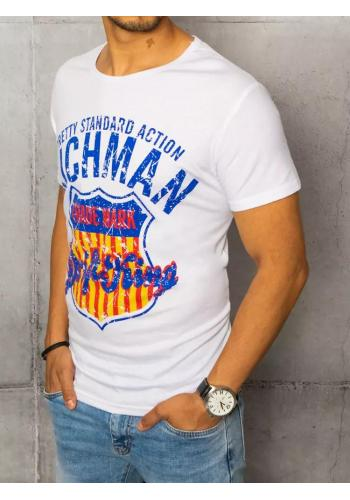 Pánské pohodlné tričko s potiskem v bílé barvě