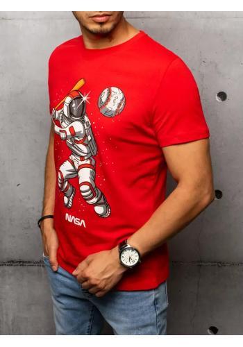 Pánské stylové trička s potiskem v červené barvě