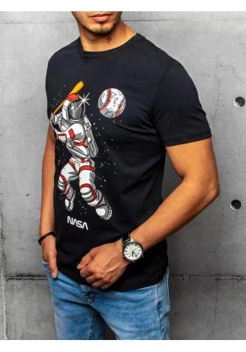 Tmavě modré stylové tričko s potiskem pro pány