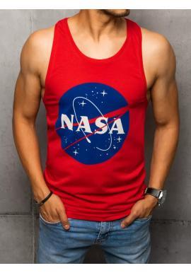 Letní pánské tričko červené barvy s potiskem NASA