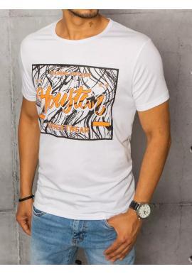 Klasické pánské tričko bílé barvy s potiskem