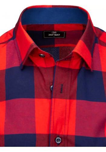 Pánská kostkovaná košile s krátkým rukávem v modro-červené barvě