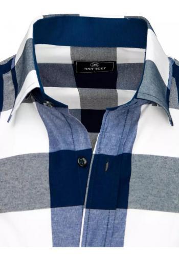 Modro-bílá kostkovaná košile s krátkým rukávem pro pány
