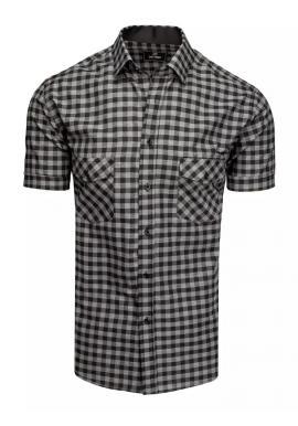 Kostkovaná pánská košile černo-šedé barvy s krátkým rukávem