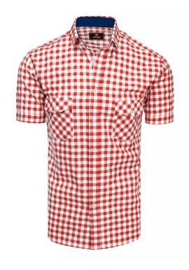 Pánská kostkovaná košile s krátkým rukávem v červeno-bílé barvě
