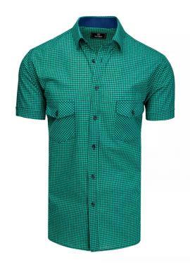 Modro-zelená kostkovaná košile s krátkým rukávem pro pány