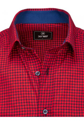 Kostkovaná pánská košile bordovo-modré barvy s krátkým rukávem