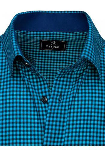 Pánské kostkované košile s krátkým rukávem v modro-černé barvě