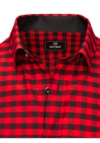 Černo-červená kostkovaná košile s krátkým rukávem pro pány