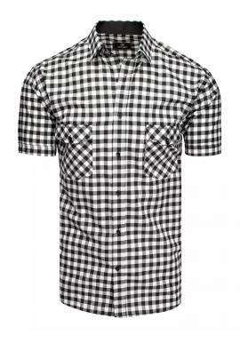 Pánská kostkovaná košile s krátkým rukávem v černo-bílé barvě