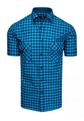 Kostkovaná pánská košile modré barvy s krátkým rukávem