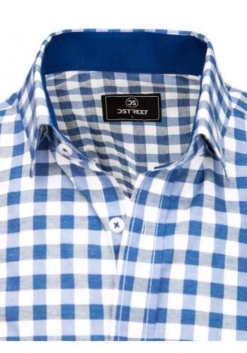 Pánská kostkovaná košile s krátkým rukávem v modro-bílé barvě