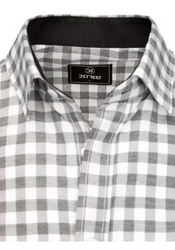 Šedo-bílá kostkovaná košile s krátkým rukávem pro pány
