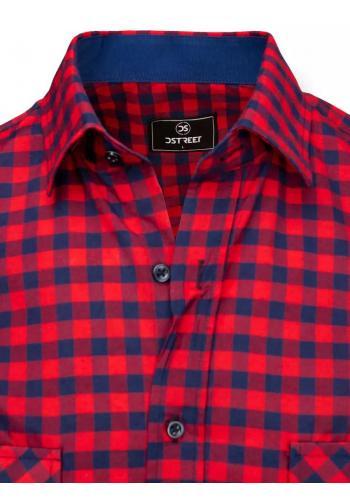 Kostkované pánské košile modro-červené barvy s krátkým rukávem