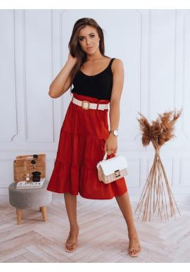 Midi dámská sukně červené barvy s pleteným páskem
