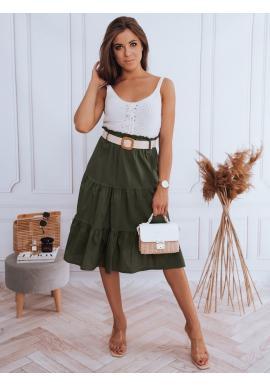 Zelená midi sukně s pleteným páskem pro dámy
