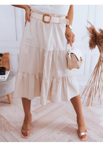 Dámská midi sukně s pleteným páskem v béžové barvě
