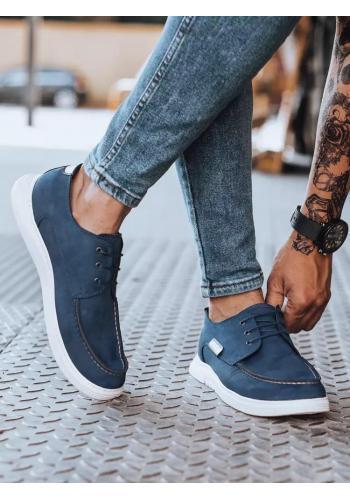Pánské módní mokasíny v tmavě modré barvě