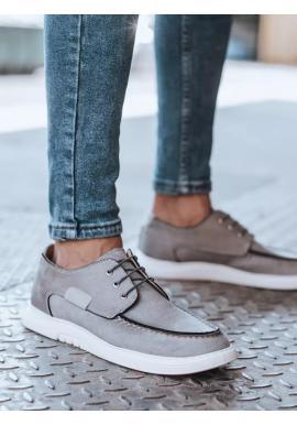 Pánské módní mokasíny v světle šedé barvě