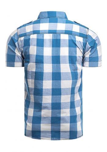 Pánská kostkovaná košile s krátkým rukávem v světle modré barvě