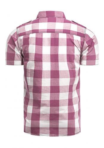 Světle růžová kostkovaná košile s krátkým rukávem pro pány