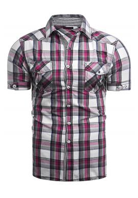 Károvaná pánská košile tmavě růžové barvy s krátkým rukávem