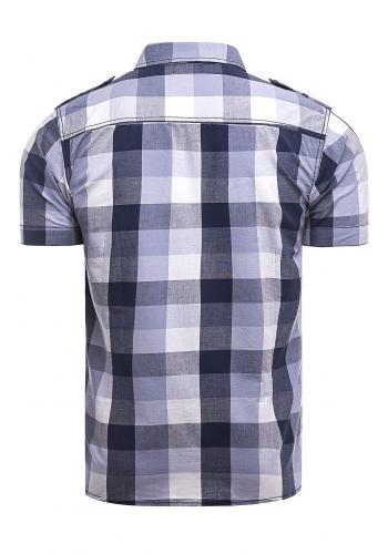 Pánská kostkovaná košile s krátkým rukávem ve fialové barvě