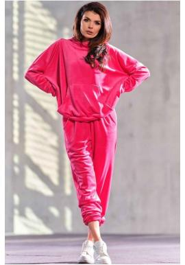 Velurová dámská oversize souprava v růžové barvě