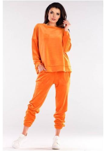 Velurová dámská oversize souprava oranžové barvy
