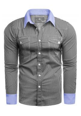 Pánská pásikavá košile s kapsami na hrudi v šedé barvě
