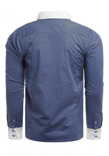 Pásikavá pánská košile modré barvy s kapsami na hrudi